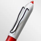 Шариковая ручка с белым пластиковым корпусом, цветными деталями и оригинальным клипом