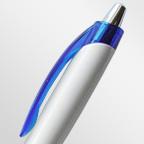 Шариковая ручка с белым пластиковым корпусом и цветными элементами